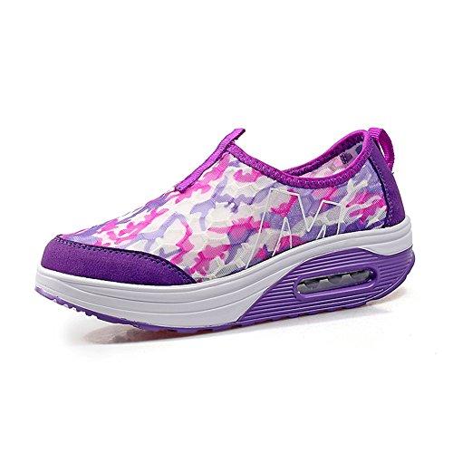 SHINIK Comfort Light Soles Sneakers Wedge Heel Round Toe Hebilla Malla Shakes Shoes Wearable Zapatos respirables Athletic Casual Student Dance Zapatos para Casual Segundo