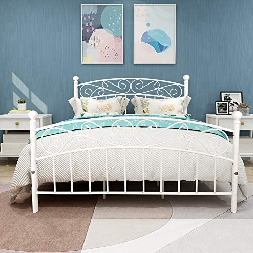 Elegant Home Products Bed Frame Platform Bed Heavy Duty with Headboard and Footboard Mattress Foundation Bedroom Furniture No Box Spring (White Sand-LINE, Queen)