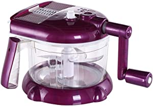 Food Processor Manual Hand-powered Crank Chopper Mincer Blender Mixer Cutter for Baby Kids Toddler to Chop Meat Fruits Vegetables (Purple)