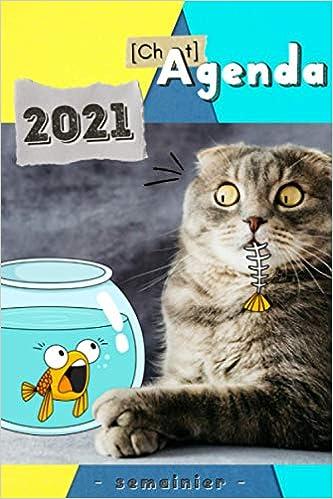 Agenda Chat 2021: Semainier   Vue semaine sur une Double Page