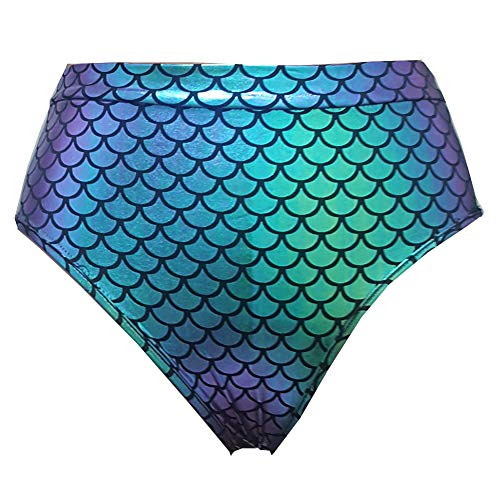 (pinda Holographic Iridescent Mermaid Party Costumes Rave High Waisted Booty Shorts Bottoms Outfits (XL,)