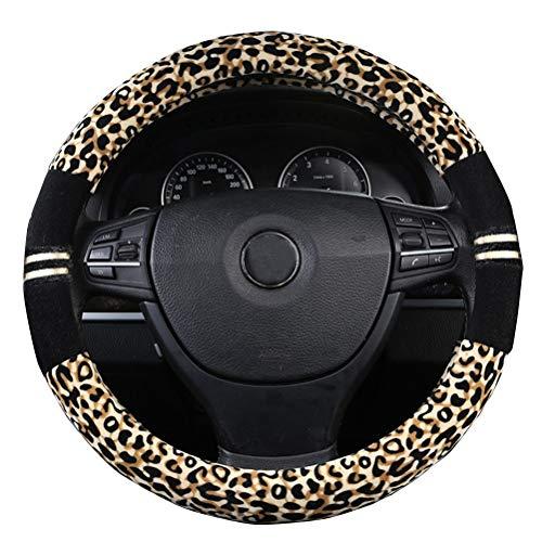 XiXiHao Soft Leopard Car Warm Steering Wheel Cover Handbrake Grip Gear Shift Plush for Women in Winter Yellow Black