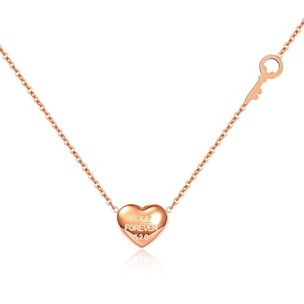 Youlixuess Style Design Fashion Women Silver Stainless Steel Simple Heart Rose Gold Pendant Necklace YLSJ0065