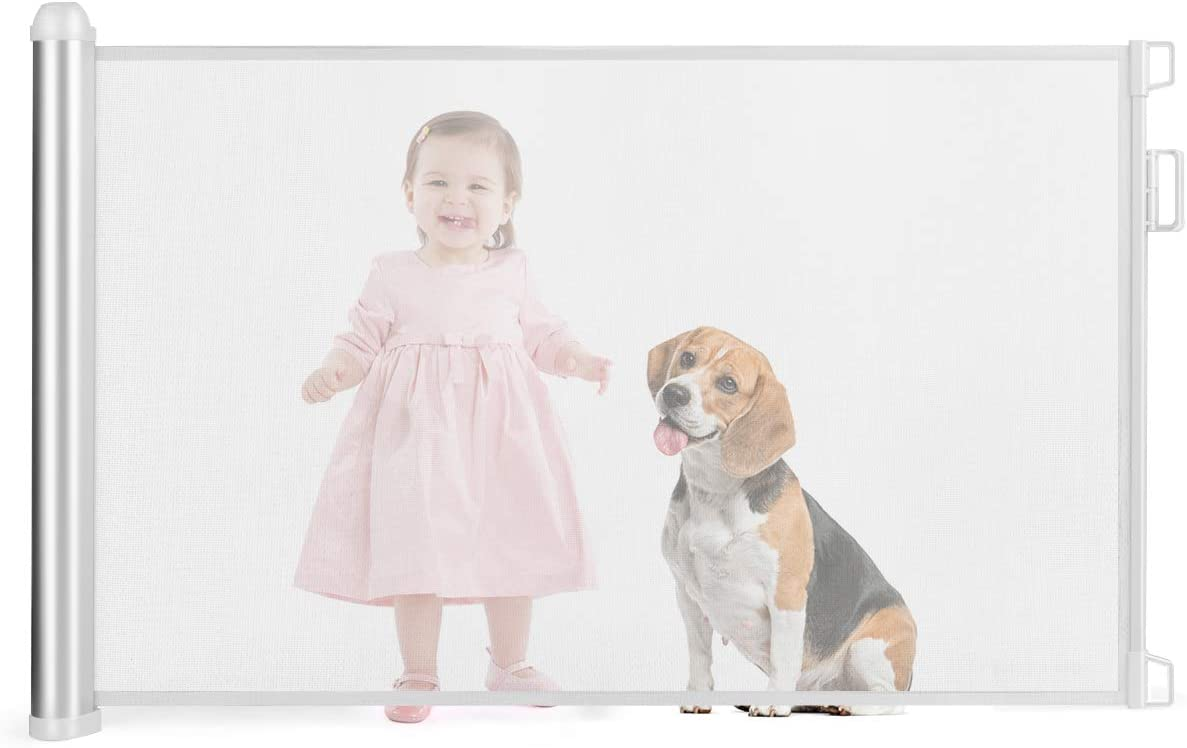 Wide Mesh Door Stair Guard for Baby Child Pets Extend up to 130CM COSTWAY Retractable Safety Gate with Lock Easy One Handed Opening