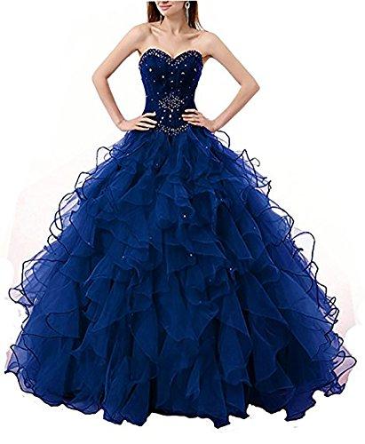5c625483e56 DarlingU Women s Beaded Sweetheart Ball Gown Quinceanera Prom Dresses  Cascading Ruffles Formal Royal Blue 18W