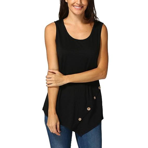 Blusa Sin Mangas Mujer con Botones Sueltos para Mujer Color SóLido Camiseta De Cuello Redondo Túnica
