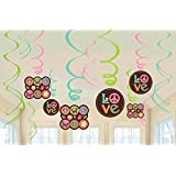 """Amscan Hippie Chick Birthday Party Decorative Swirls Decoration (12 Pack), 24"""", Multicolor"""