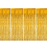 Zealor Foil Fringe Curtains, 4 Pack Metallic Tinsel Curtains 3.28ft 8.2ft Backdrop for Parties and Celebrations(Gold)