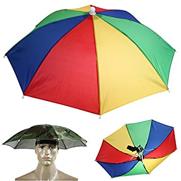 8e4bf570 Hands Free Portable 55cm Umbrella Hat Sun Shade Camping Fishing Hiking  Festivals Outdoor Brolly (Camo