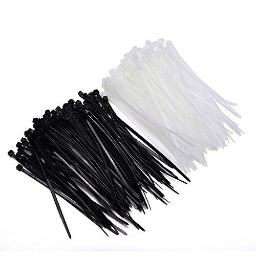 OGC 200pcs Self-Locking 6-Inch Nylon Cable Ties in Black & White