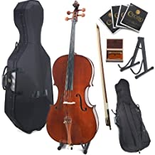 Cecilio CCO-300 Solid Wood Cello with Hard and Soft Case, Stand, Bow, Rosin, Bridge and Extra Set of Strings, Size 4/4 (Full Size)