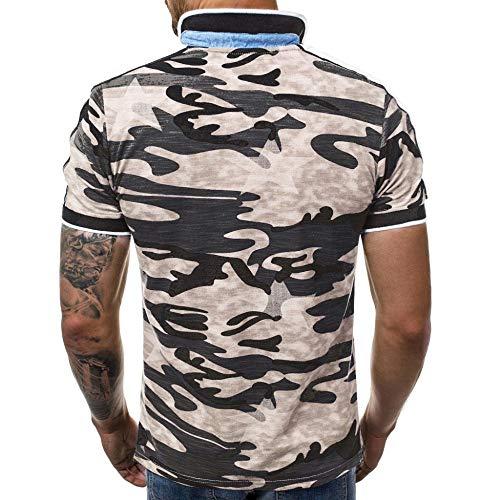 NISHISHOUZI Polo Homme,Polo Kaki Été Vêtements Hommes Manches Courtes en Coton Militaire Camouflage,Respirant Et… 3