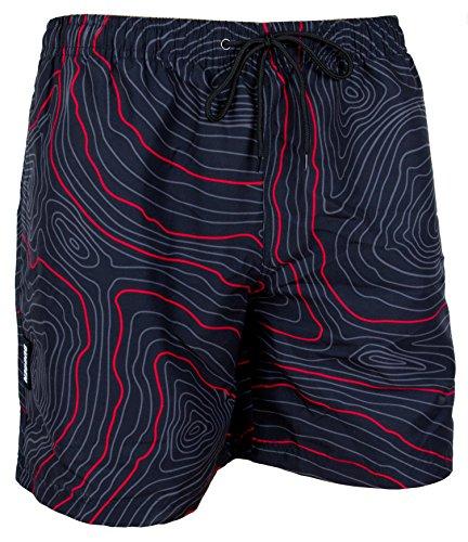 GUGGEN MOUNTAIN Herren Badeshorts Beachshorts Boardshorts Badehose *High Quality Print* Farbe Rot M