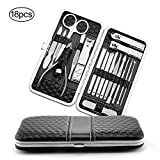 Professional Stainless Steel Nail tools set 18 Nail Clippers , Nail Cutter with Black Leather Travel Case