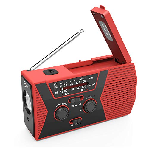 Esky Solar Crank NOAA Weather Radio for Emergency with AM/FM, Flashlight, Reading Lamp and 2000mAh Power Bank -