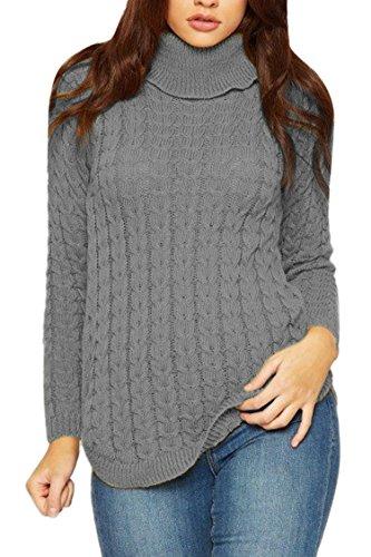 Viottis Women's Turtleneck Knit Long Sleeve Slim Fisherman Sweater Jumper Grey S