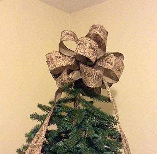 Rustic Elegance Tree Topper Bow Large/Home for the Holidays Collection/Custom Bows by Jami