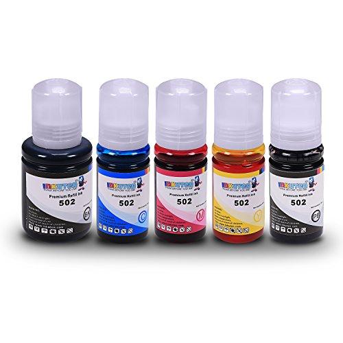 INKUTEN Compatible 502 / T502 Ink Bottle 5PK: T502120 Black, T502220 Cyan, T502320 Magenta & T502420 Yellow for Expression ET-2700, ET-2750, ET-3700, ET-3750 & (502 Printer)