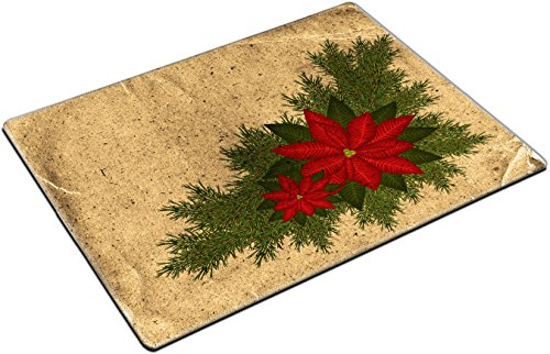MSD Place Mat Non-Slip Natural Rubber Desk Pads design 24255820 Vintage Christmas background with poinsettia and fir branches