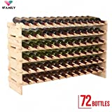 Smartxchoices Stackable Modular Wine Rack Stackable Storage Stand Wooden Wine Holder Display Shelves, Wobble-Free, Solid Wood, (Six-Tier, 72 Bottle Capacity) (Wood)