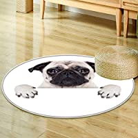 Round Area Rug Carpet pug dog behind blank white banner or placard  Living Dining Room Bedroom Hallway Office Carpet -Round 24
