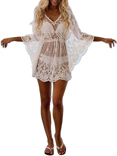 Cover Up Bikini Mujer 2019 Nuevo SHOBDW Pareos Sexy Cardigans Mujer Transparentes Gasa Encaje Playa de Verano Chal Manga Larga Cuello en V Tops Blusa Camisa de Protección Solar(Blanco, Talla única): Amazon.es: