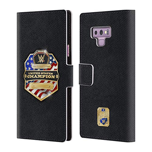Official WWE Smackdown Tag Team Champion Title Belts Leather Book Wallet Case Cover for Samsung Galaxy Note9 / Note 9 ()