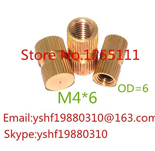 Single Thread Brass Knurl Nut OD=6mm Ochoos 100pcs//lot M46 M4 x 6 Blind End Brass Insert Nut