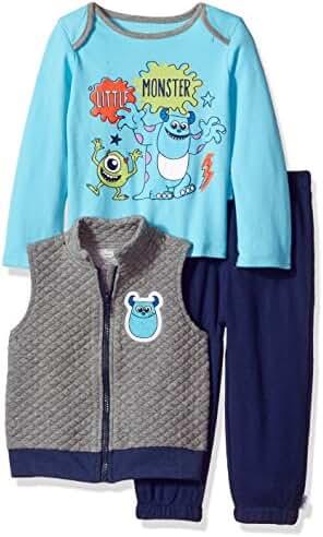 Disney Baby Boys' Monsters Inc 3 Piece Vest, Bodysuit OR T-Shirt, and Pant Set