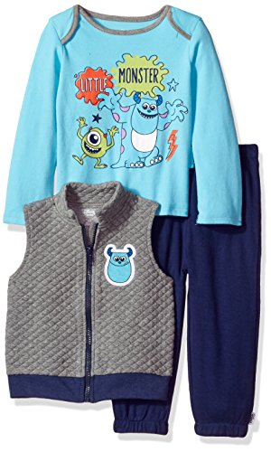 Disney Baby Boys' Monsters Inc 3 Piece Vest, Bodysuit OR T-Shirt, and Pant Set, Medium Heather Grey, 18 Months