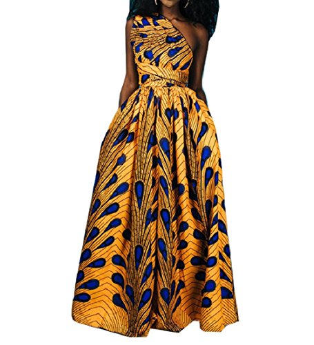 Casual Maxi Back Dashiki Sexy Women Coolred Yellow Open Oblique Africa Dress pgx0q