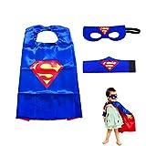 LMYTech Dress Up Superhero Toys Super Hero Masks for Boys & Girls/Superhero Costume Kids/Mask Costume Set for Kids/Cosplay Design/Halloween Christmas Party - Blue Superman