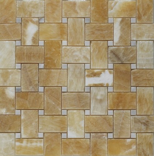 Wht 50 Sheet - Honey Onyx Basketweave with WHITE DOT Polished Mosaic Tiles - LOT OF 50 SHEETS
