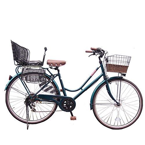 Lupinusルピナス 自転車 26インチ LP-266HA-knr-b シティサイクル LEDオートライト SHIMANO製6段ギア 後子乗せブラック B073LVJPCW グリーン グリーン