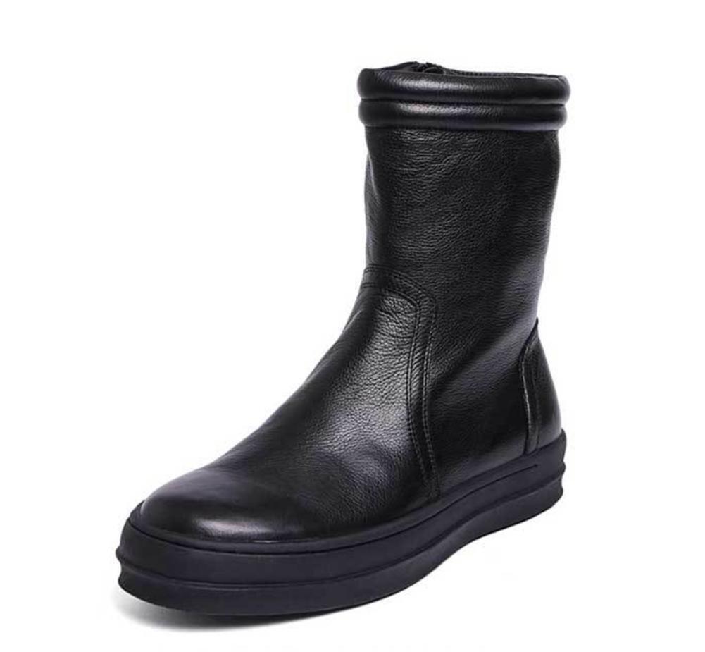 Männer Herbst Winter Hoch Martin Cowboy Stiefel britisch Trend Beiläufig Leder Schuhe Eben Reißverschluss Schwarz