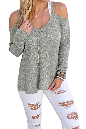OUR WINGS Women Gray Cold Shoulder Knit Long Sleeves Sweater - Square Neck Crochet Dress