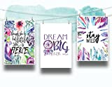 Set of 3 Feathers Flowers and Dreamcatcher Nursery Cardstock Prints - 8.5 x11'' ''Though She Be But Little She Is Fierce'', ''Dream Big Little One'', ''Stay Wild''