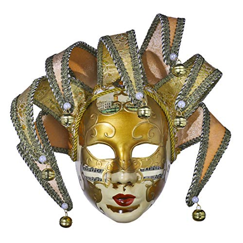 YU FENG Full Face Venetian Joker Masquerade Theater Mask Mardi Gras Party Ball Mask (Yellow-2)]()