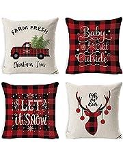 4PCS Christmas Pillow Covers for Christmas Decor Black and Red Christmas Decorations Pillow Covers,45x45cm