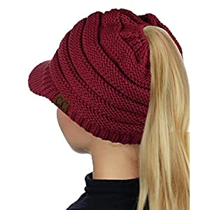 fe1a28a0185ba2 C.C BeanieTail Warm Knit Messy High Bun Ponytail Visor Beanie Cap ...