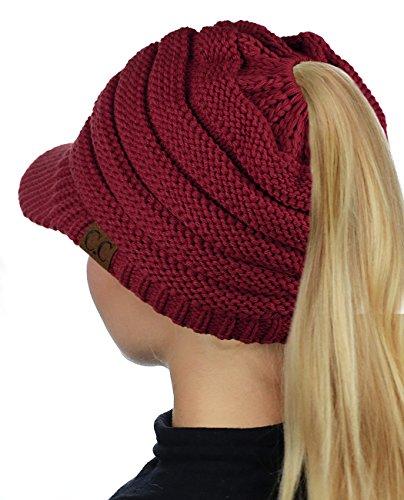 C.C BeanieTail Warm Knit Messy High Bun Ponytail Visor Beanie Cap