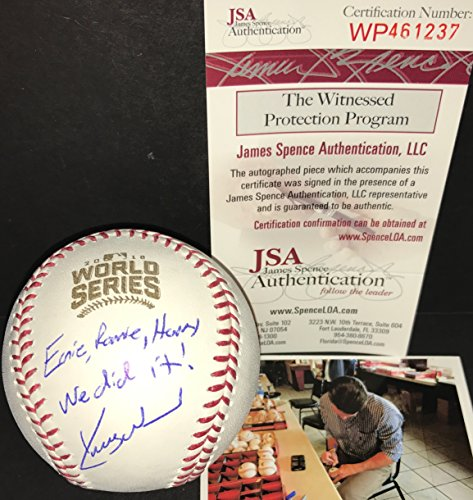 Kerry Wood Chicago Cubs Autographed Signed 2016 World Series Baseball Proof JSA COA ERNIE RONNIE HARRY WE DID IT!