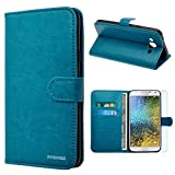 Samsung Galaxy E5 / E500 Case, INNOVAA Premium Leather Wallet Case with STAND Flip Cover W/ Free Screen Protector & Stylus Pen - Teal