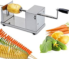 [Free Shipping] Stainless Steel Potato Chip Making Machine Home Made Potato Spiral Cutter Slicer