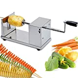 [Free Shipping] Stainless Steel Potato Chip Making Machine Home Made Potato Spiral Cutter Slicer // Papa acero inoxidable toma de chip de la máquina casera de patata cortador espiral máquina de cortar