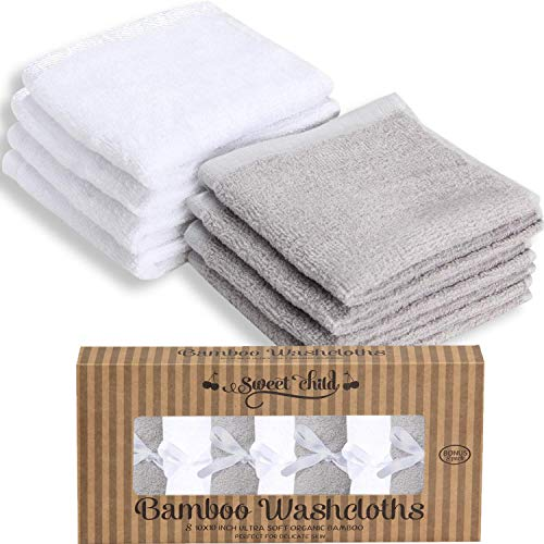 SWEET CHILD Bamboo Baby Washcloths (Bonus 8-Pack) - Premium Extra Soft & Absorbent Towels for Baby