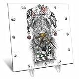 3dRose Ronn Kools - ballpoint pen illustrations - Ballpoint pen drawing of a dog styled as Mexican artist Frida Kahlo - 6x6 Desk Clock (dc_281512_1)