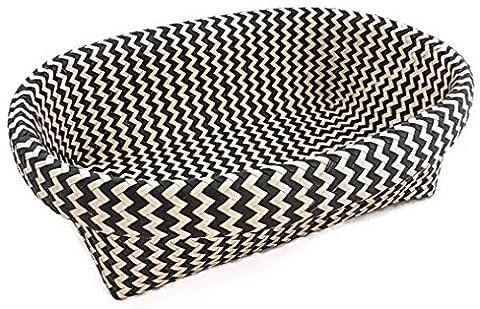 Oval Wicker Decorative Storage Basket, Black and White Chevron - Satin Covered Card Box