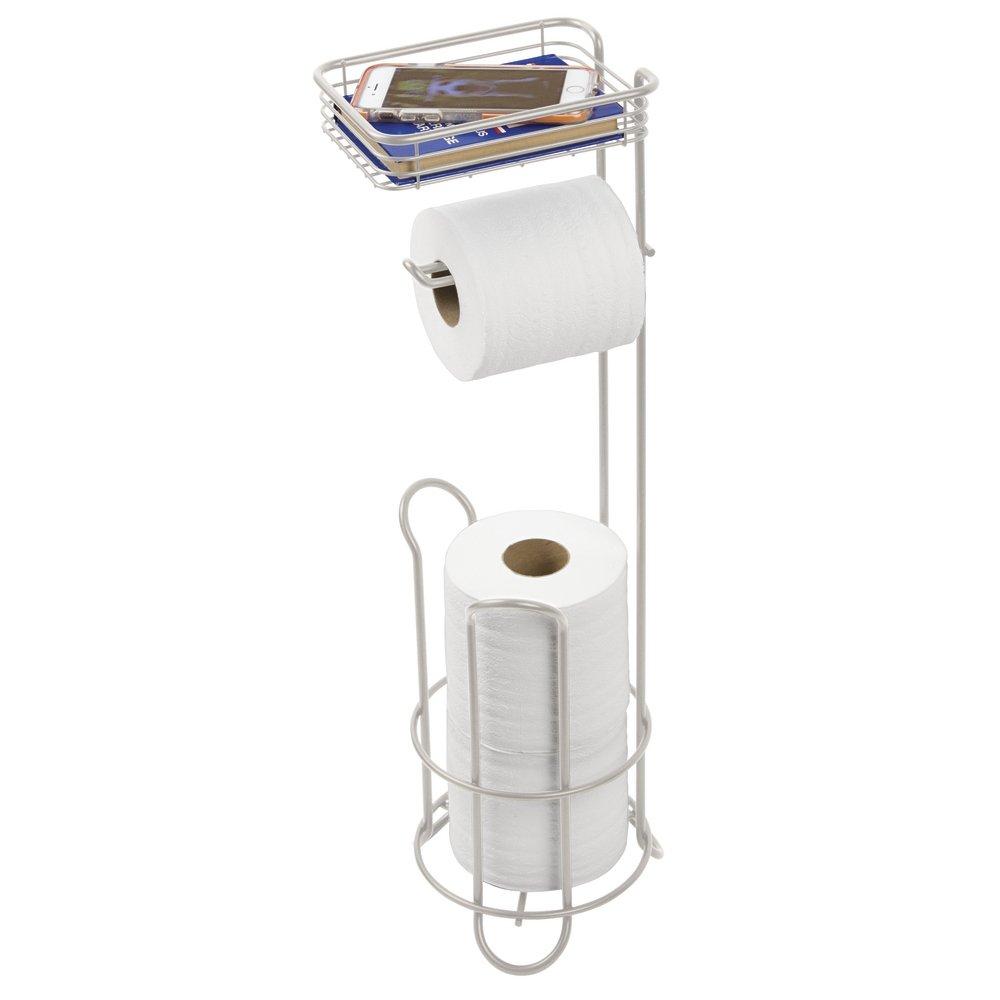 mDesign porta carta igienica autoportante – con mensola – pratico porta rotolo bagno – colore: satinato – funzionale portarotolo carta igienica da terra MetroDecor