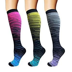 3/5 Pairs Compression Socks Women & Men – Best Medical,Nursing,Hiking,Travel & Flight Socks-Running & Fitness